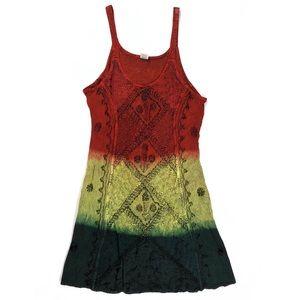 Shoreline boho rasta tie-dyed embroidered sundress